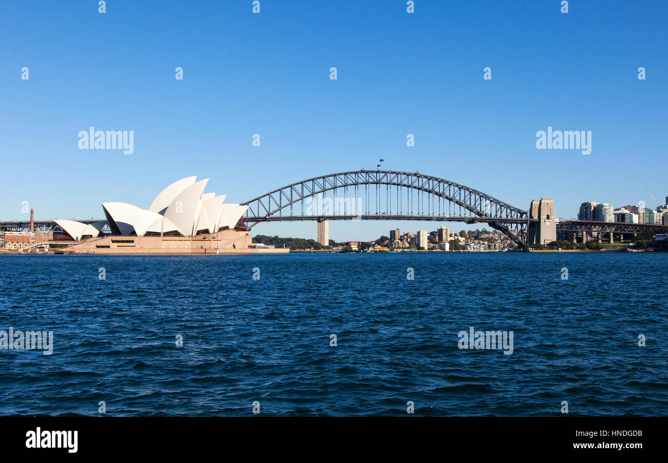 Sydney Opera House and Harbour Bridge, Sydney, Australia - Stock Image