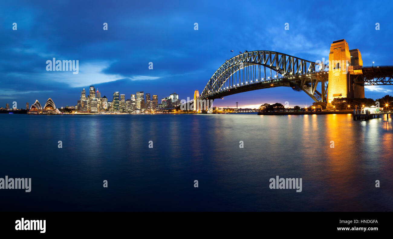 Sydney Opera House and Harbour Bridge at Dusk, Sydney, Australia Stock Photo