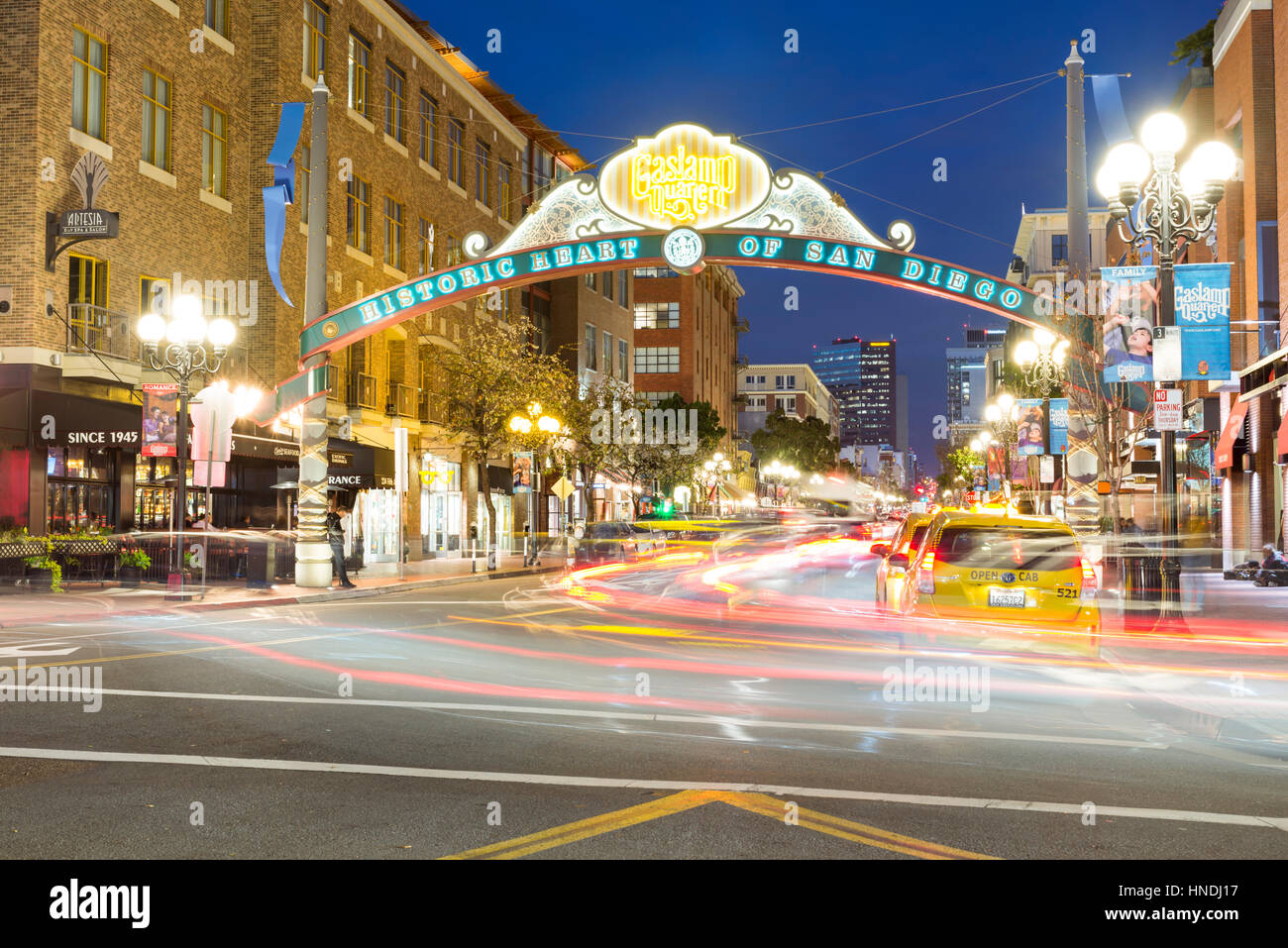 Gaslamp Quarter neon sign, looking down 5th Avenue at night. Downtown San Diego, California, USA. - Stock Image