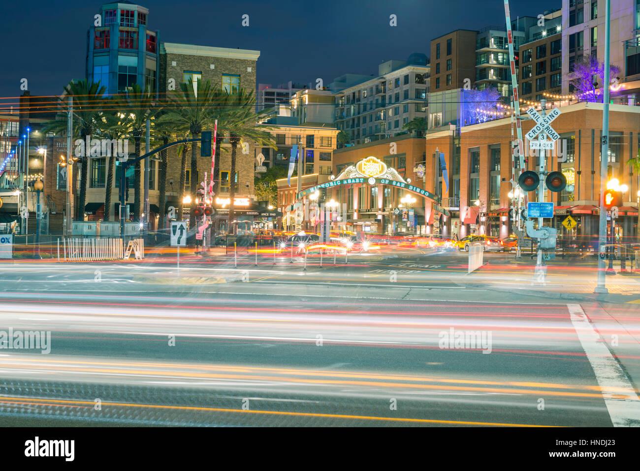 Gaslamp Quarter neon sign.  Downtown San Diego, California, USA. - Stock Image