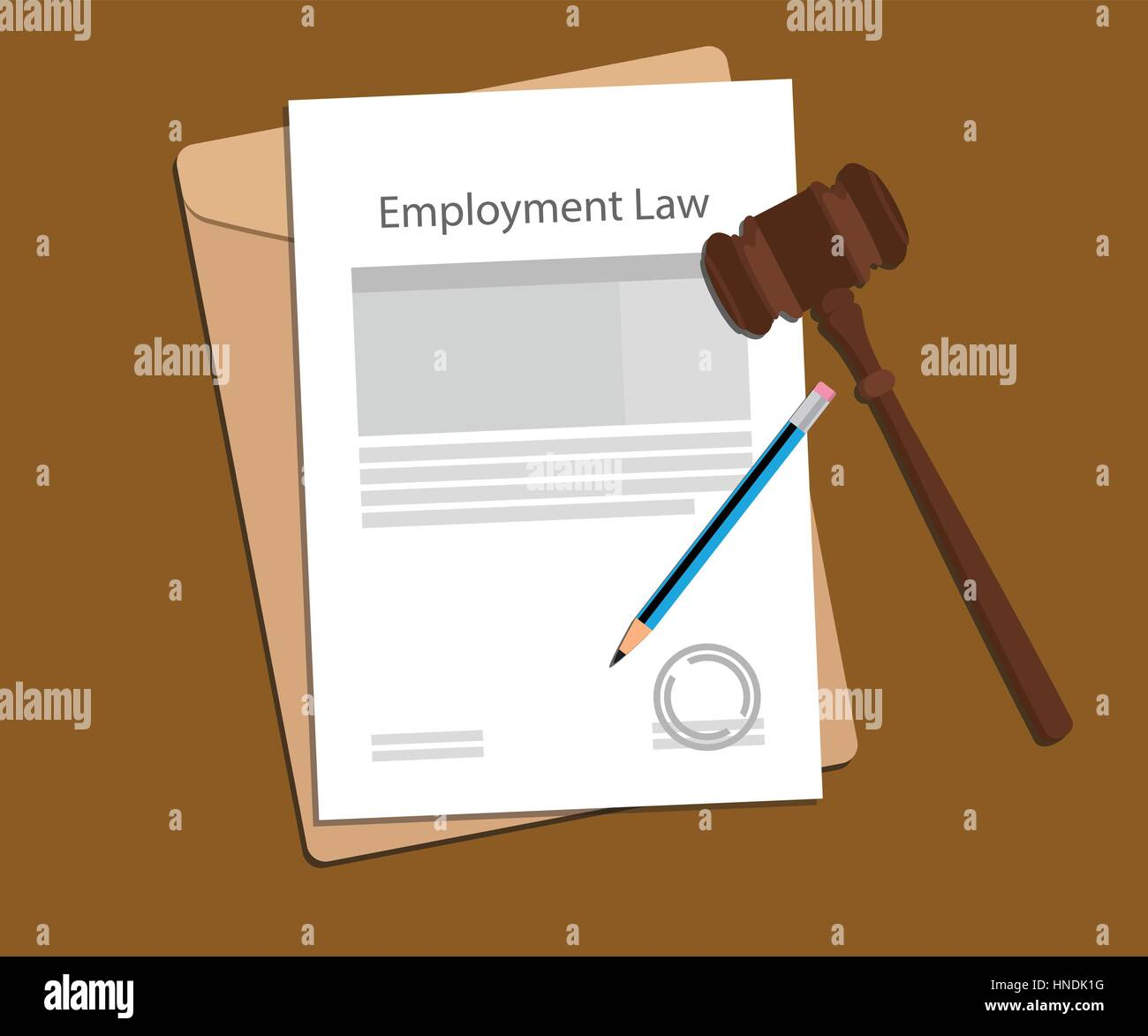 promo code fe37a 275e5 employment law concept illustration with paperworks, pen and a judge hammer  - Stock Image