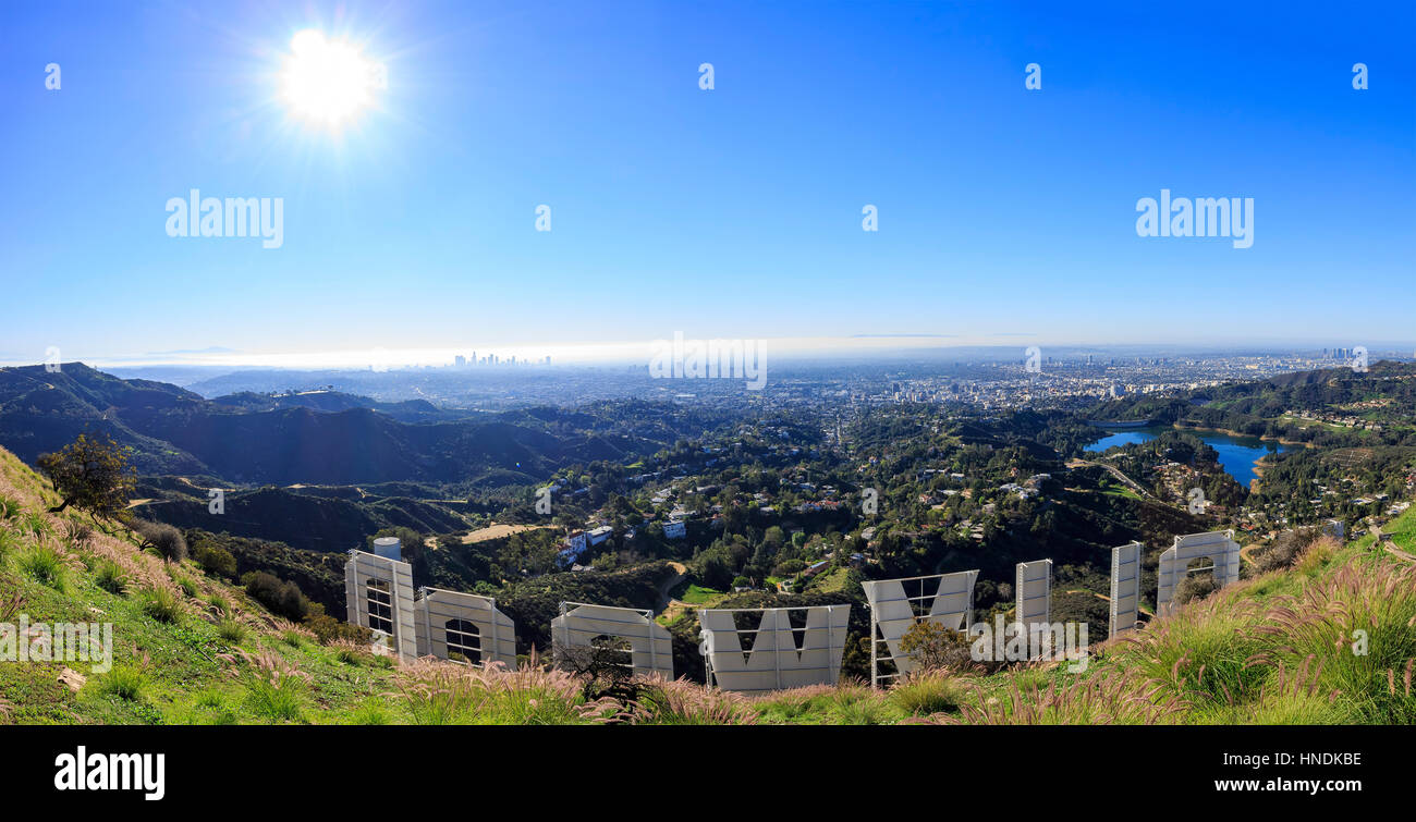 Los Angeles, FEB 2: Hollywood sign from back on FEB 2, 2015 at Los Angeles, California - Stock Image