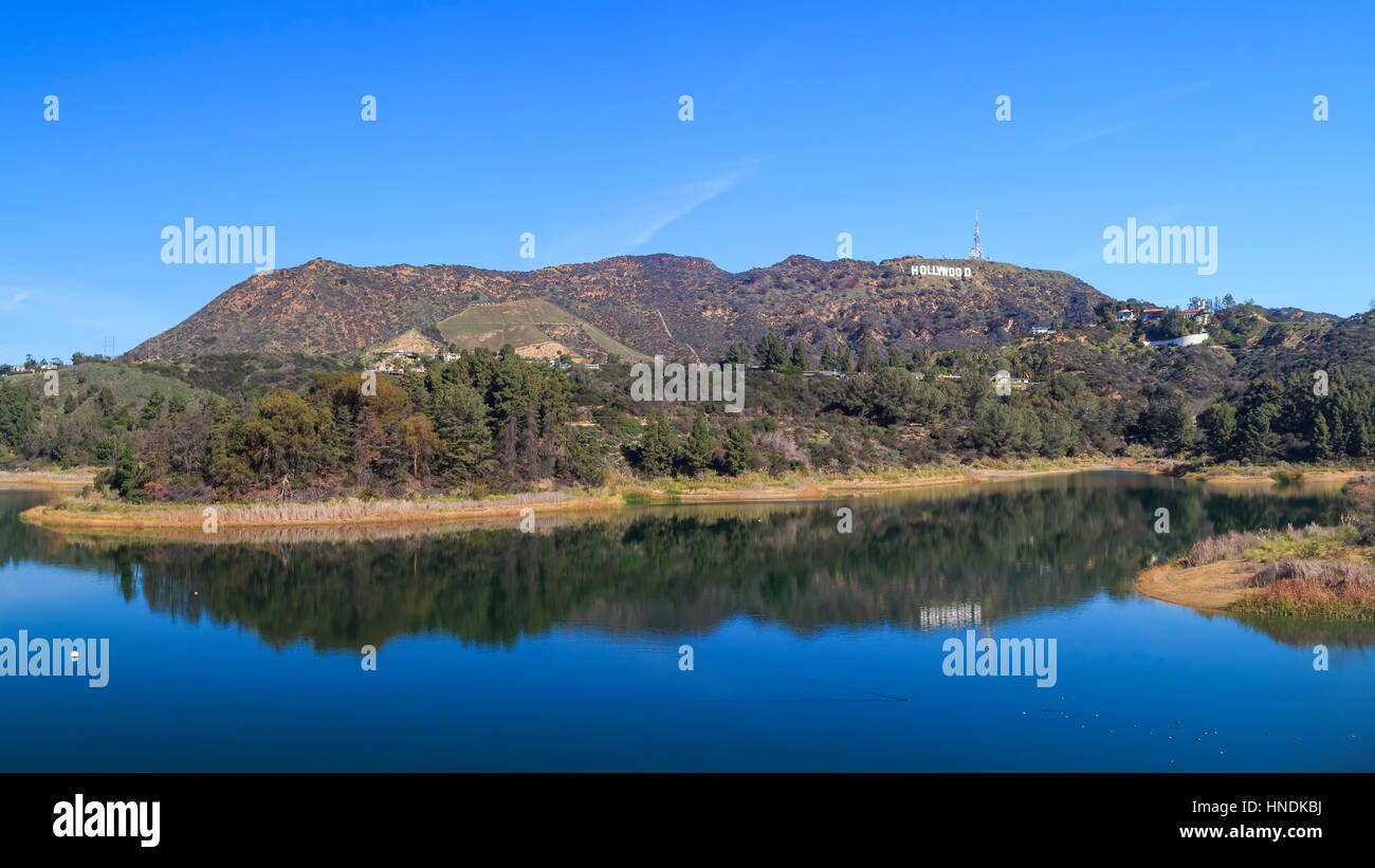 Los Angeles, FEB 2: Morning view of Hollywood reservoir FEB 2, 2015 at Los Angeles, California - Stock Image