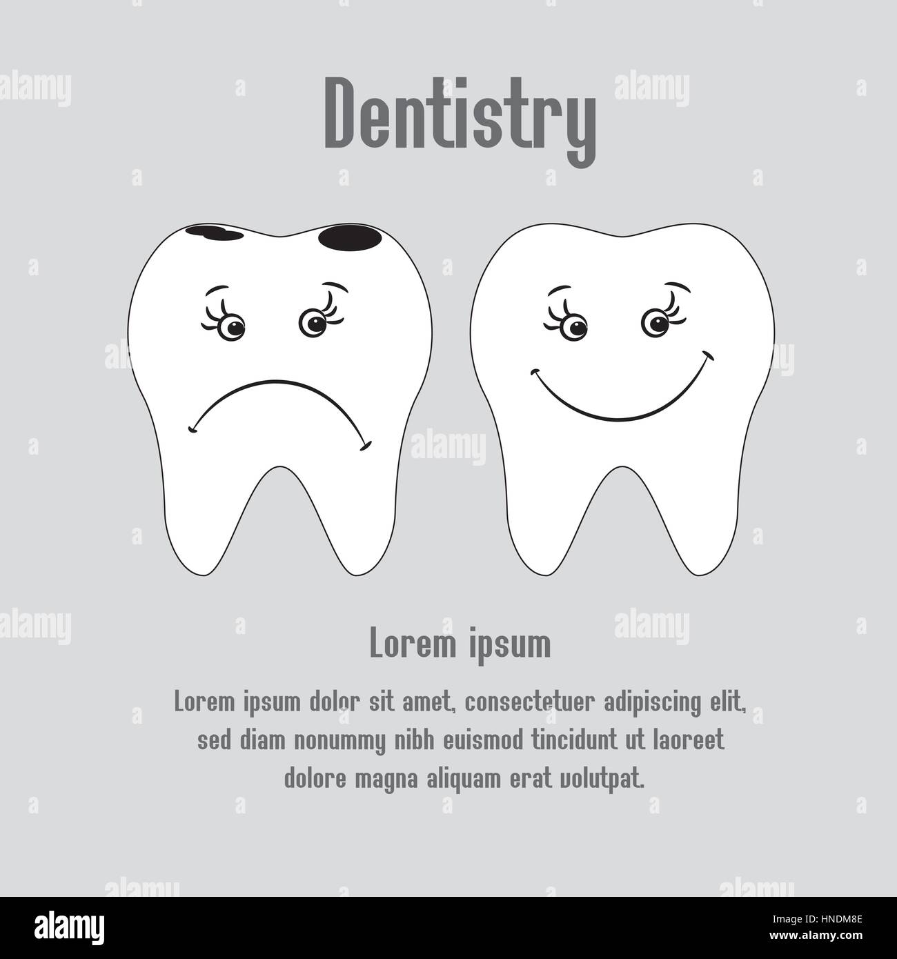Sad aching tooth and cheerful healthy tooth, vector - Stock Vector