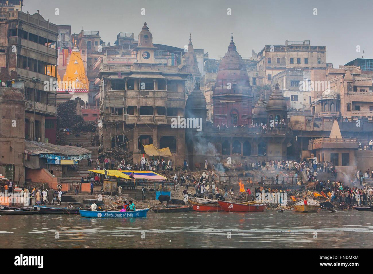 Landscape, panorama,panoramic,Manikarnika Ghat, the burning ghat, on the banks of Ganges river, Varanasi, Uttar - Stock Image