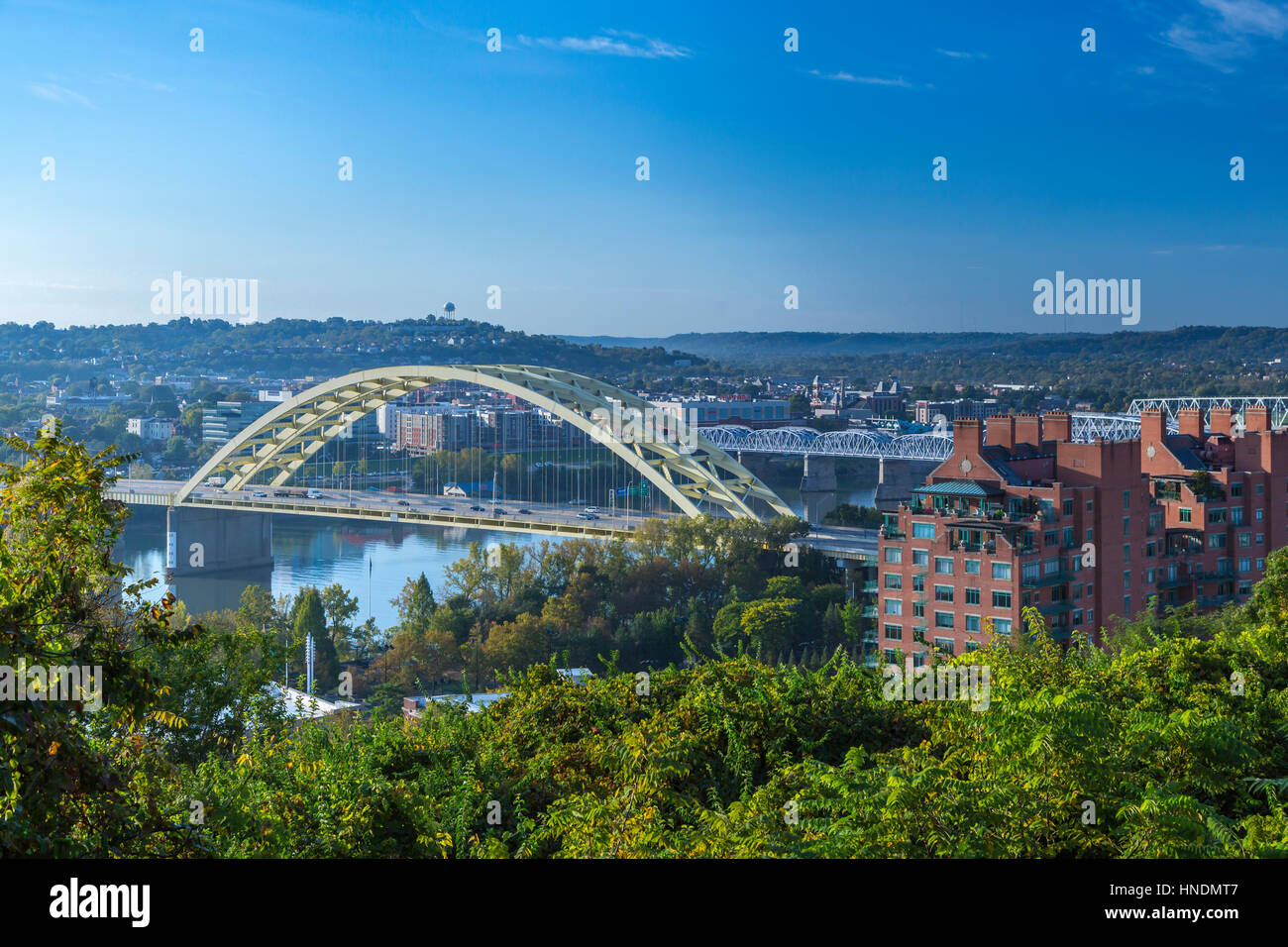 the ohio river and big mac bridge of cincinnati ohio usa stock