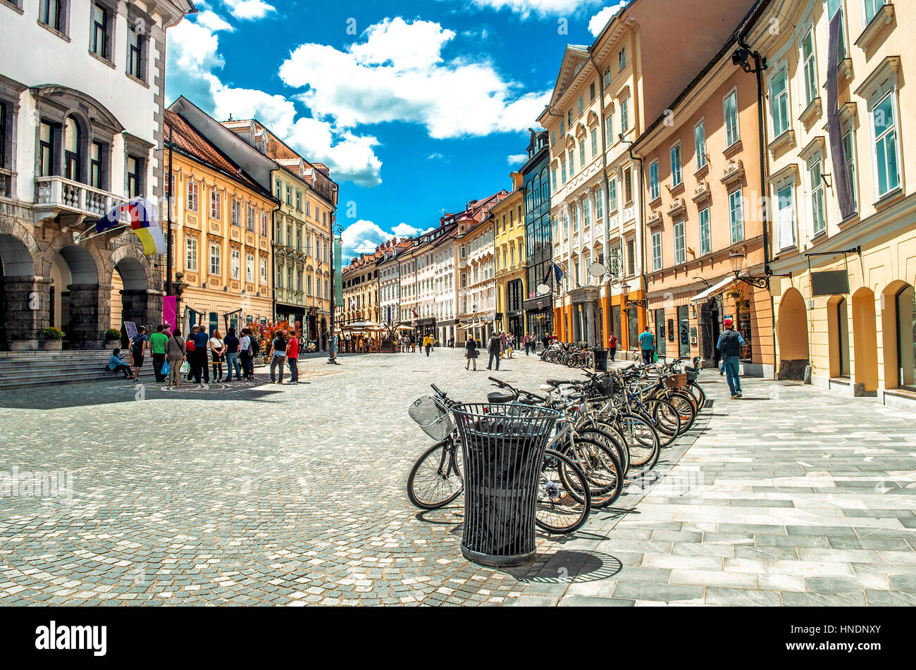 colorful street Ljubljana summer Lubiana buildings clean urban area care - Stock Image