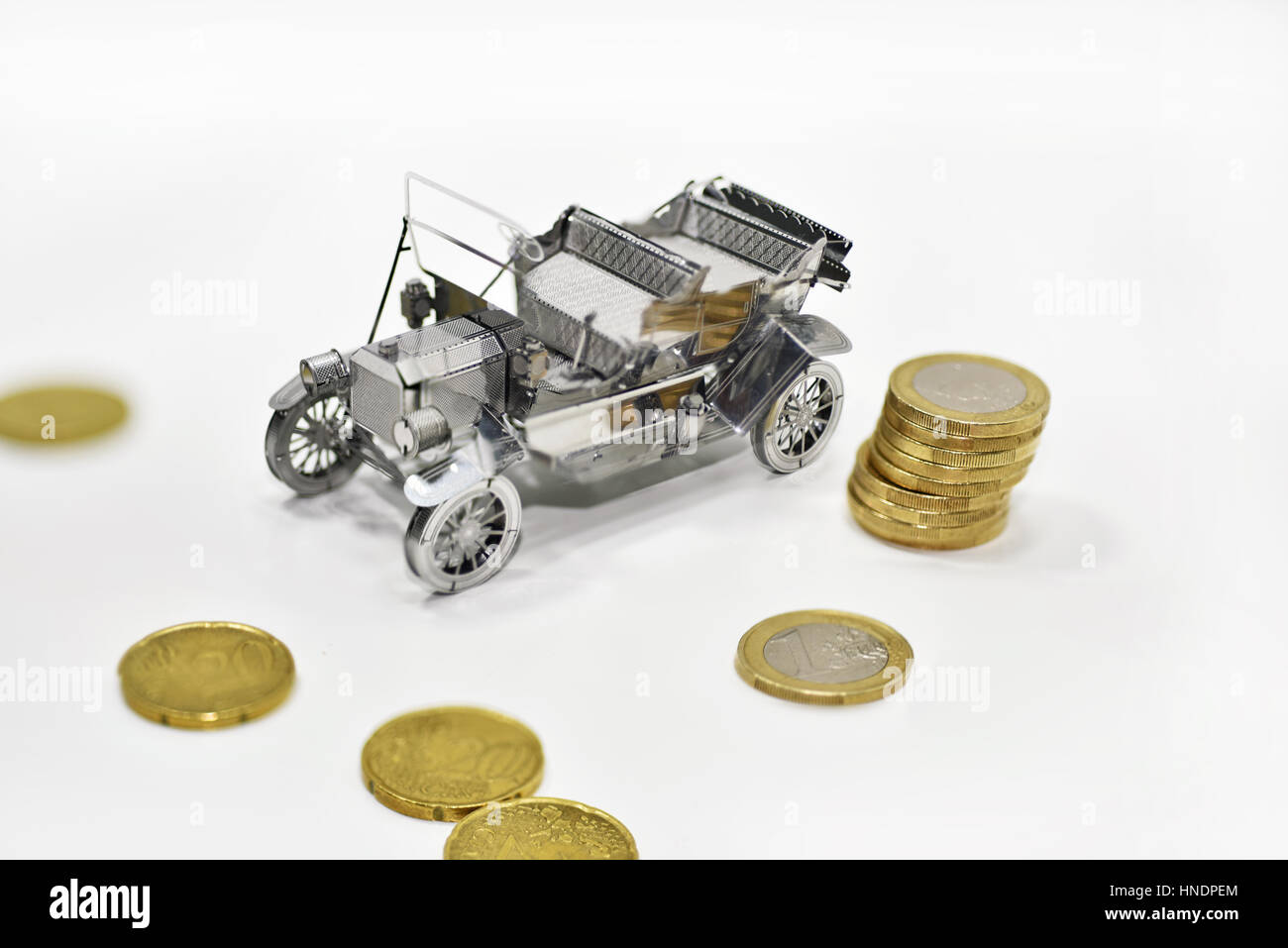 Composition of car prices in auto-market. Stock Photo