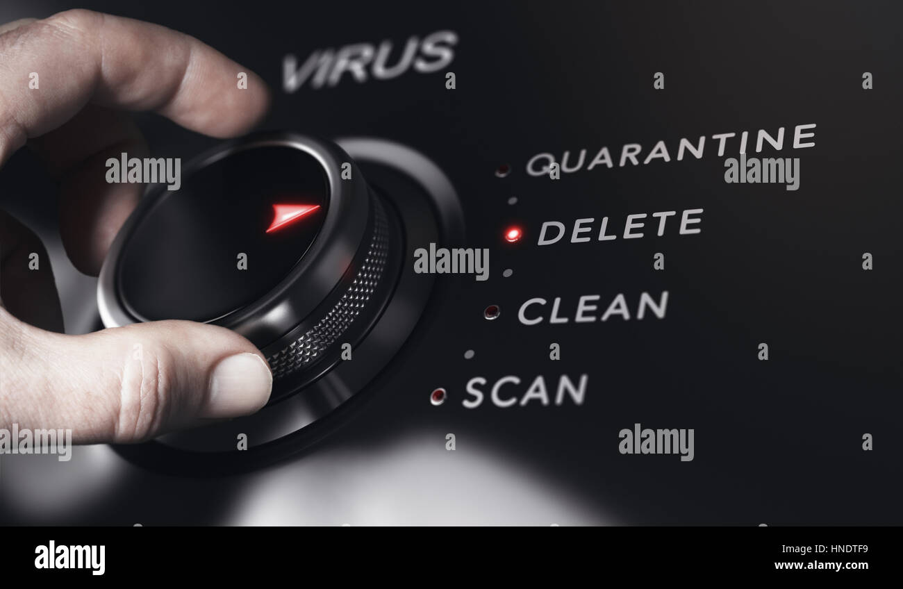 Hand turning a button with the title virus. Antivirus protection system concept, horizontal image. Composite between - Stock Image