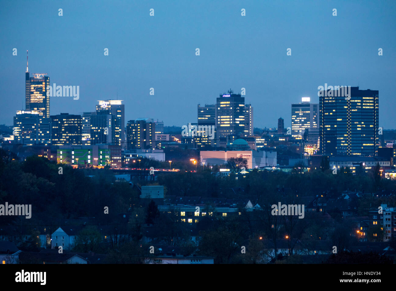 Panorama of the city center of Essen, Germany, Skyline, left the RWE tower, right the town hall, Stock Photo