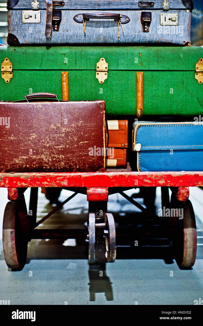 old suitcases in National railway museum, York - Stock Image