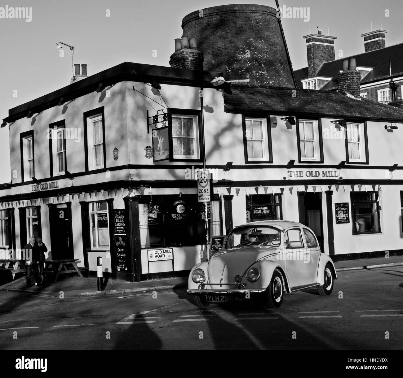 The Old Mill at Plumstead, London with 1968 VW Beetle - Stock Image