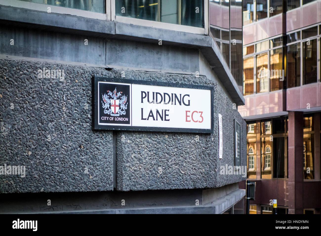 Pudding Lane road sign, City of London, UK - Stock Image