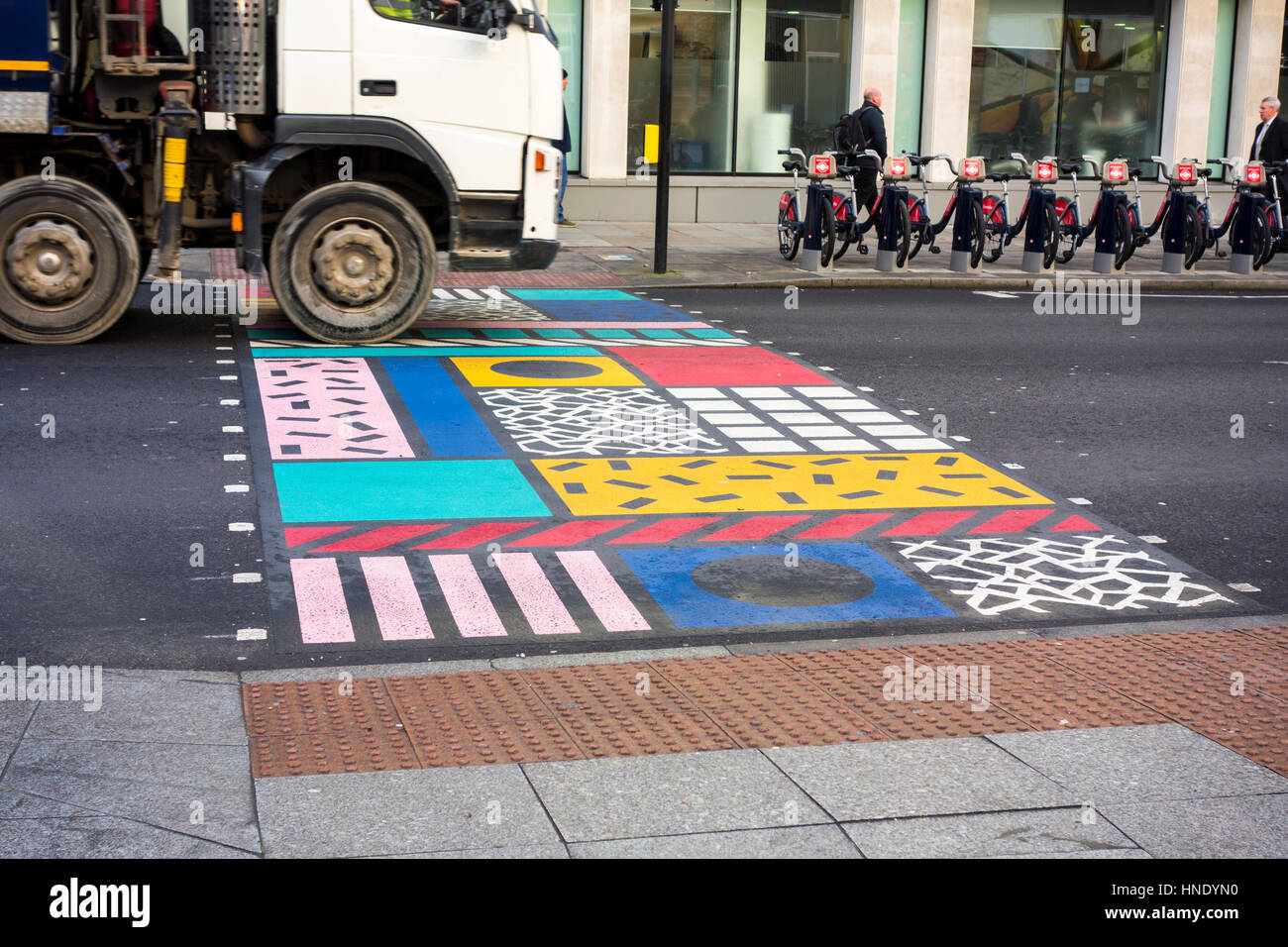 Colourful Crossings. Multicoloured pedestrian crossing by Camille Walala, London, UK - Stock Image