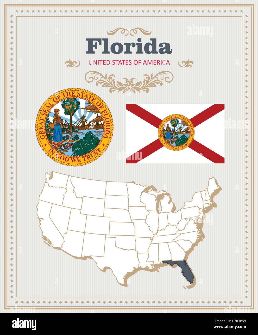 Map Of Florida Detailed.High Detailed Vector Set With Flag Coat Of Arms Map Of Florida
