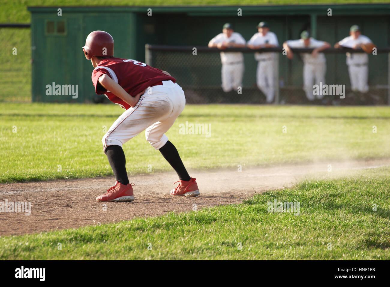 Baseball runner on base - Stock Image