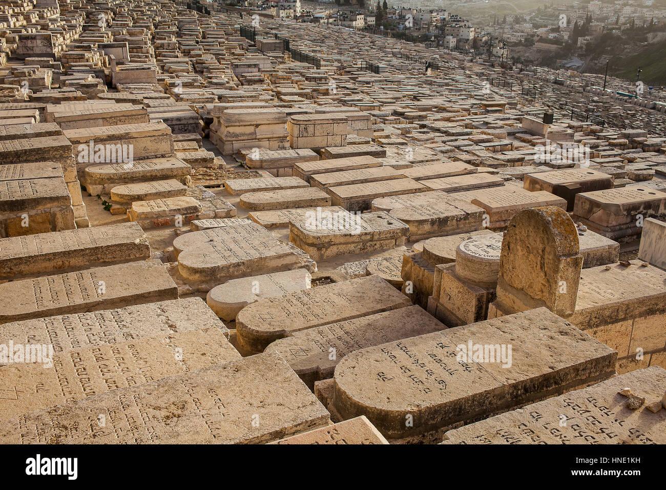 jewish cemetary, Mount of Olives, Jerusalem, Israel. - Stock Image