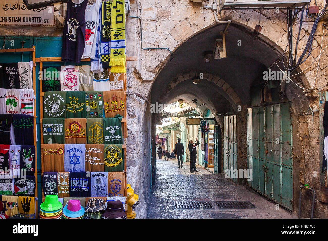 Christian quarter street, Souk Arabic market, Old City, Jerusalem, Israel. - Stock Image