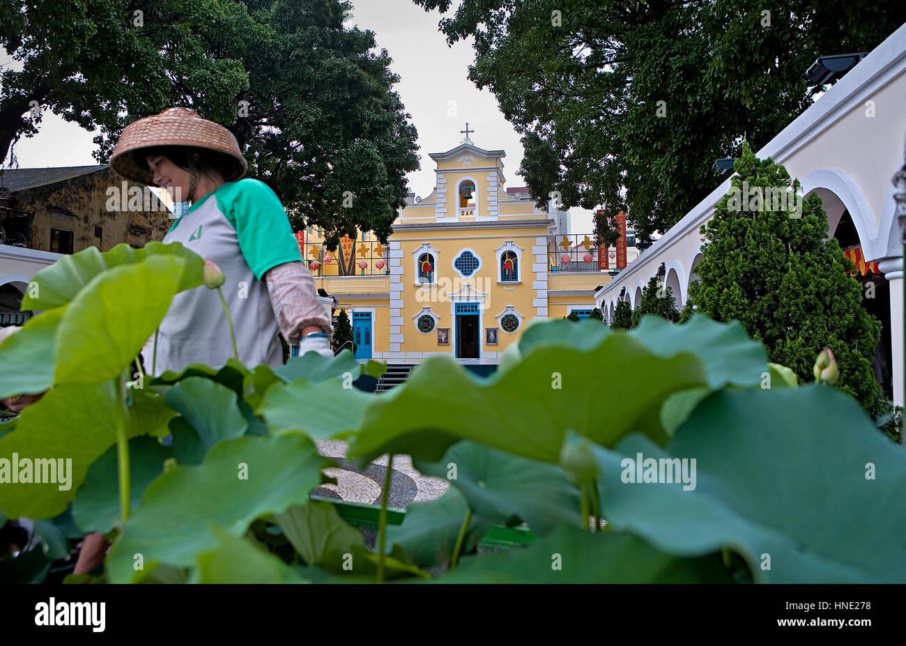 Saint Francis Xavier Chapel, Coloane island,Macau,China - Stock Image
