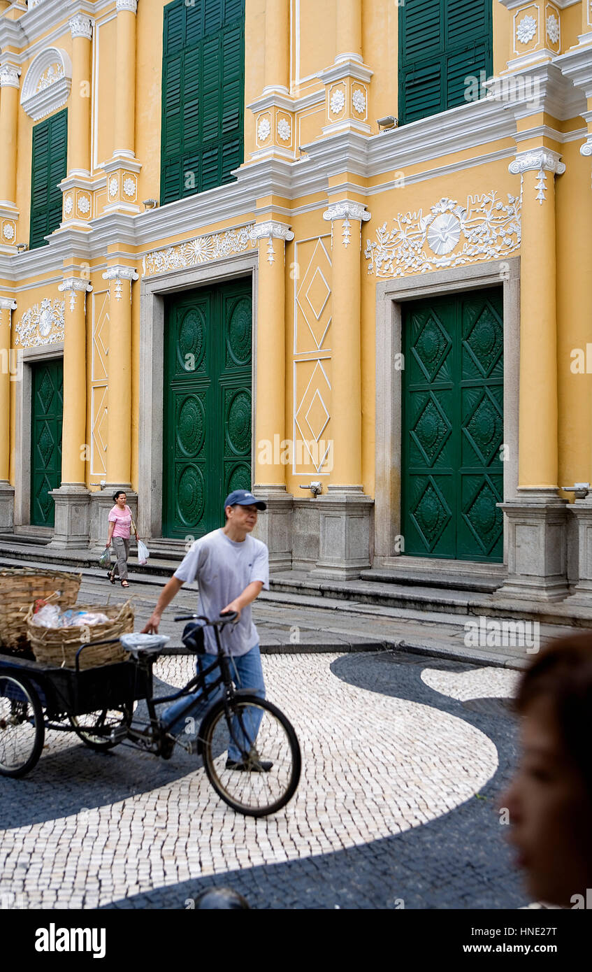 street scene, Church, St Dominic´s Church, in St Dominic´s square,Macau,China - Stock Image