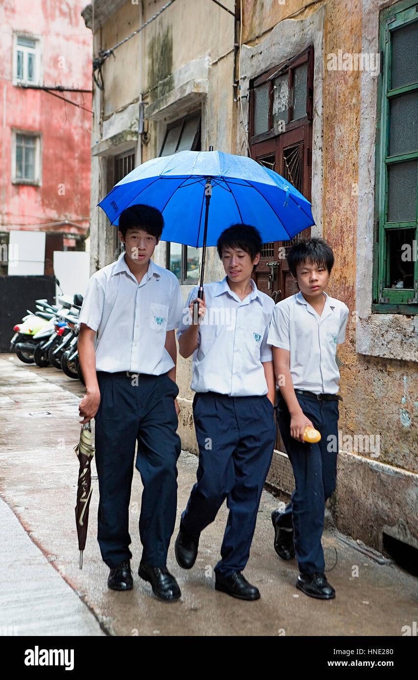 Students near Rua de Monte,Macau,China - Stock Image