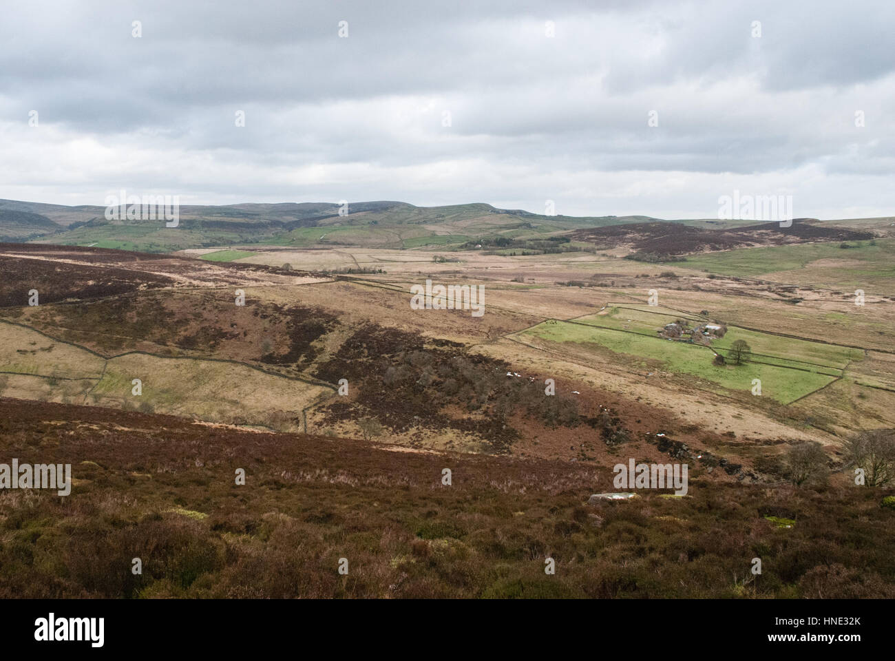 A view across the Staffordshire Moorlands on a clear day - Stock Image