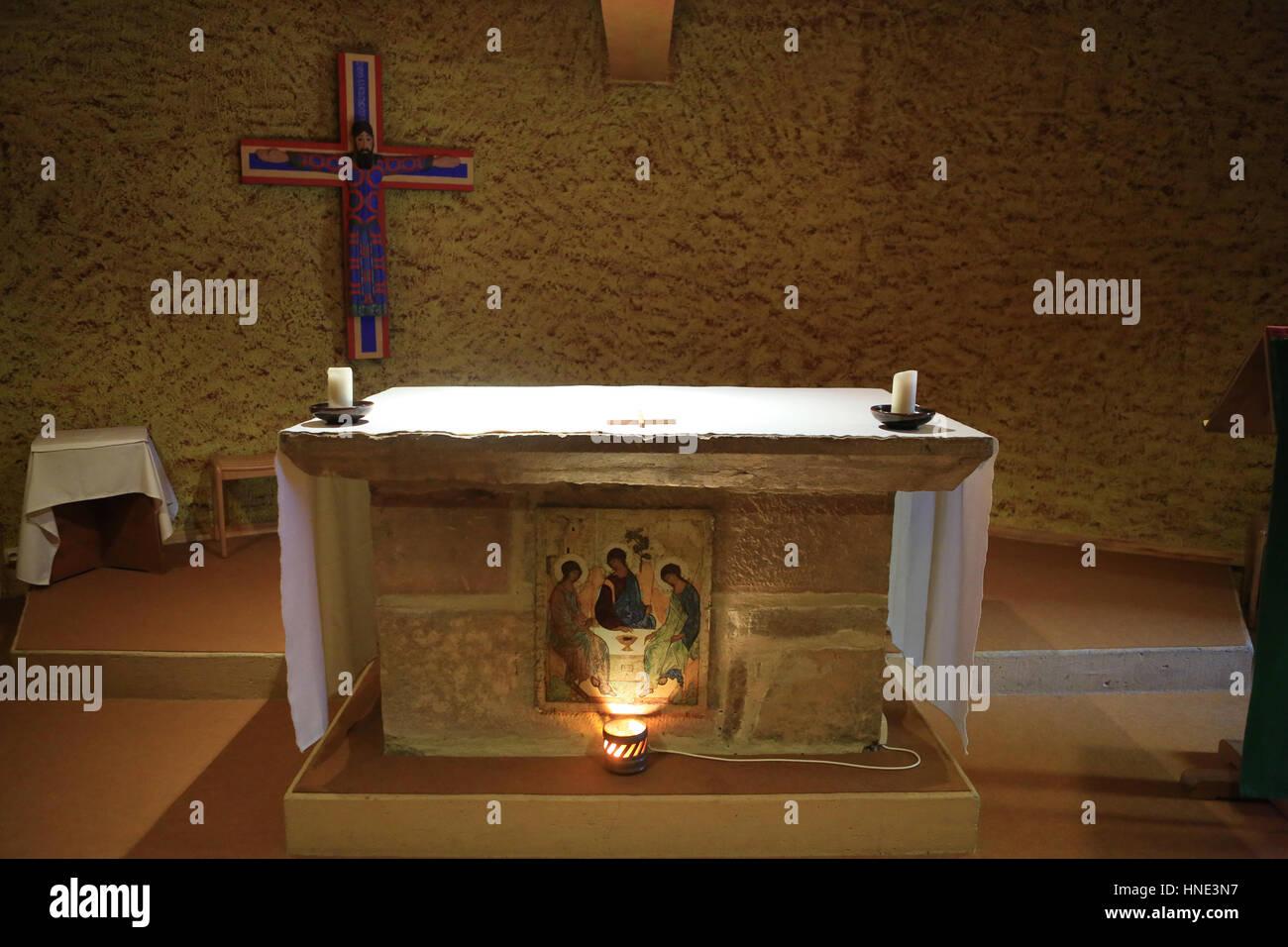 Altar. Taize Community. Stock Photo
