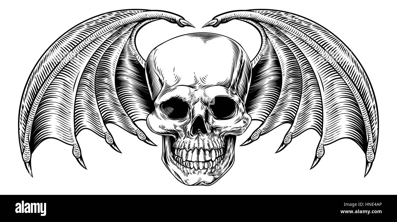 a winged skull drawing with bat or dragon wings in a vintage retro