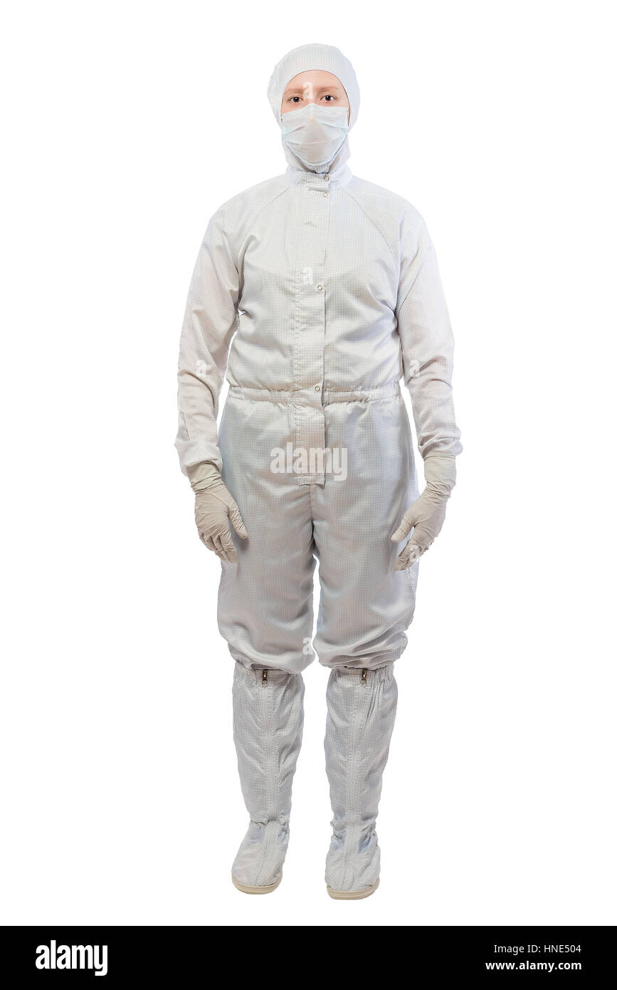 chemist in a white protective suit in full length isolated - Stock Image