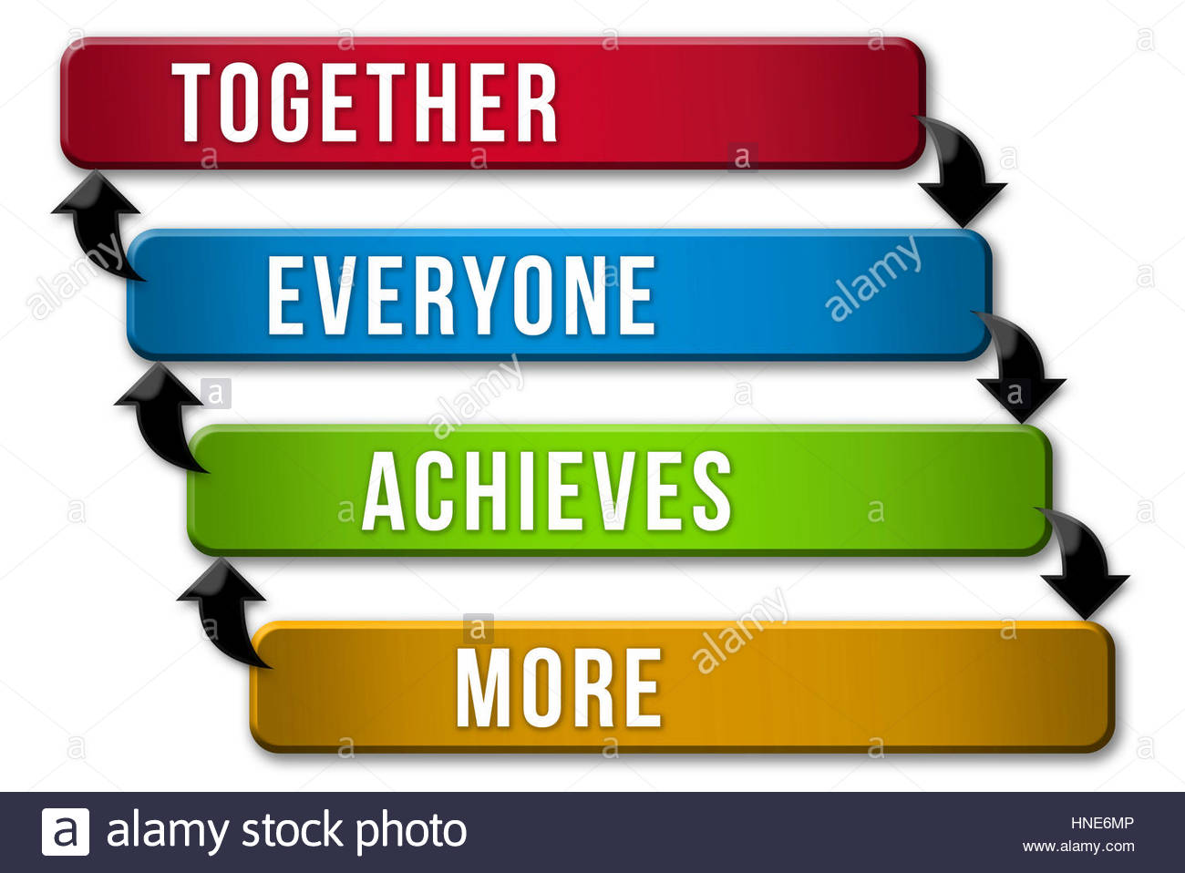 Team strategy - together everyone achieves more - Stock Image