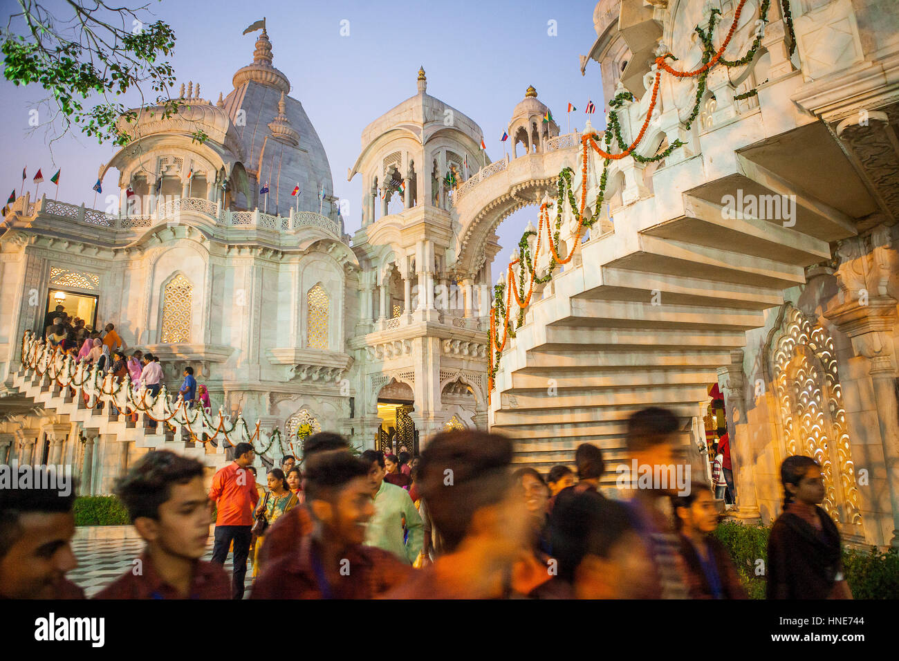 ISKCON temple, Sri Krishna Balaram Mandir,Vrindavan,Mathura, Uttar Pradesh, India Stock Photo