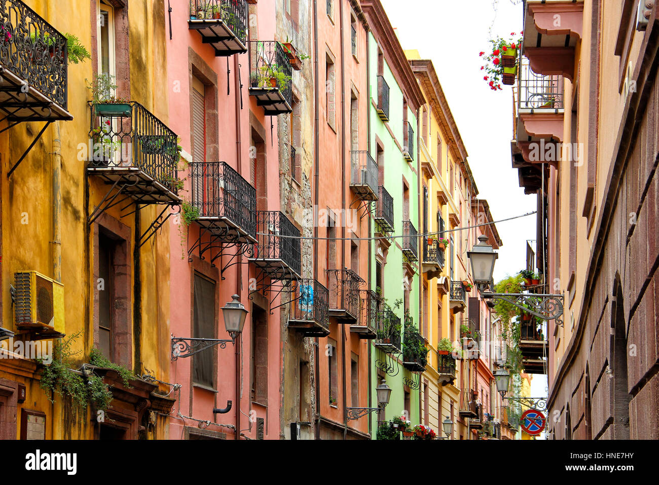 Colorful street in Bosa old town, Sardinia, Italy - Stock Image