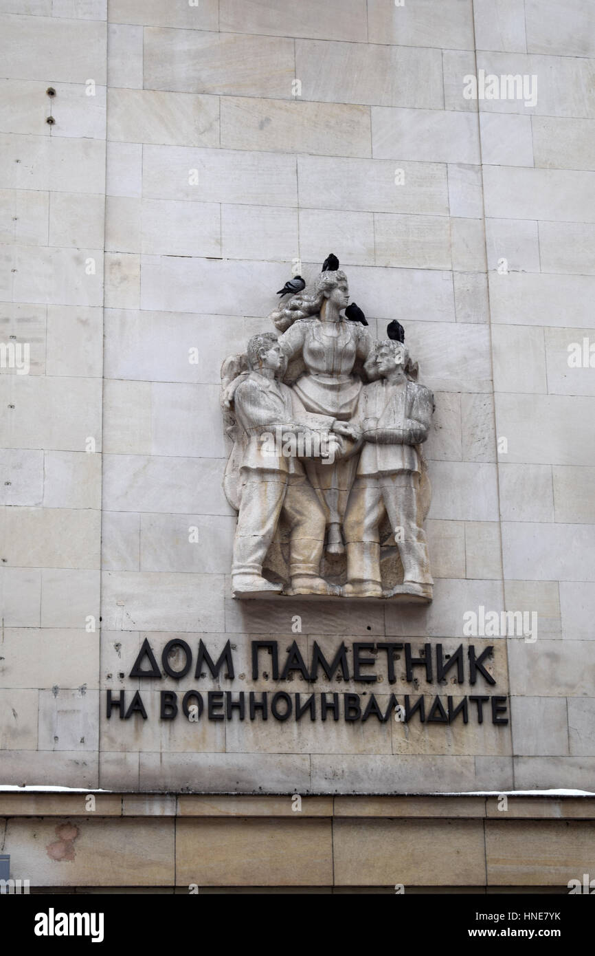 Statue with pigeons on military building, Sofia, Bulgaria - Stock Image