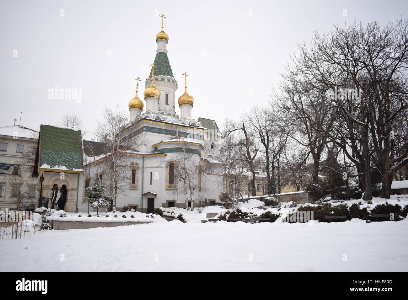 Orthodox church in snow, Sofia, Bulgaria, January 2017 - Stock Image