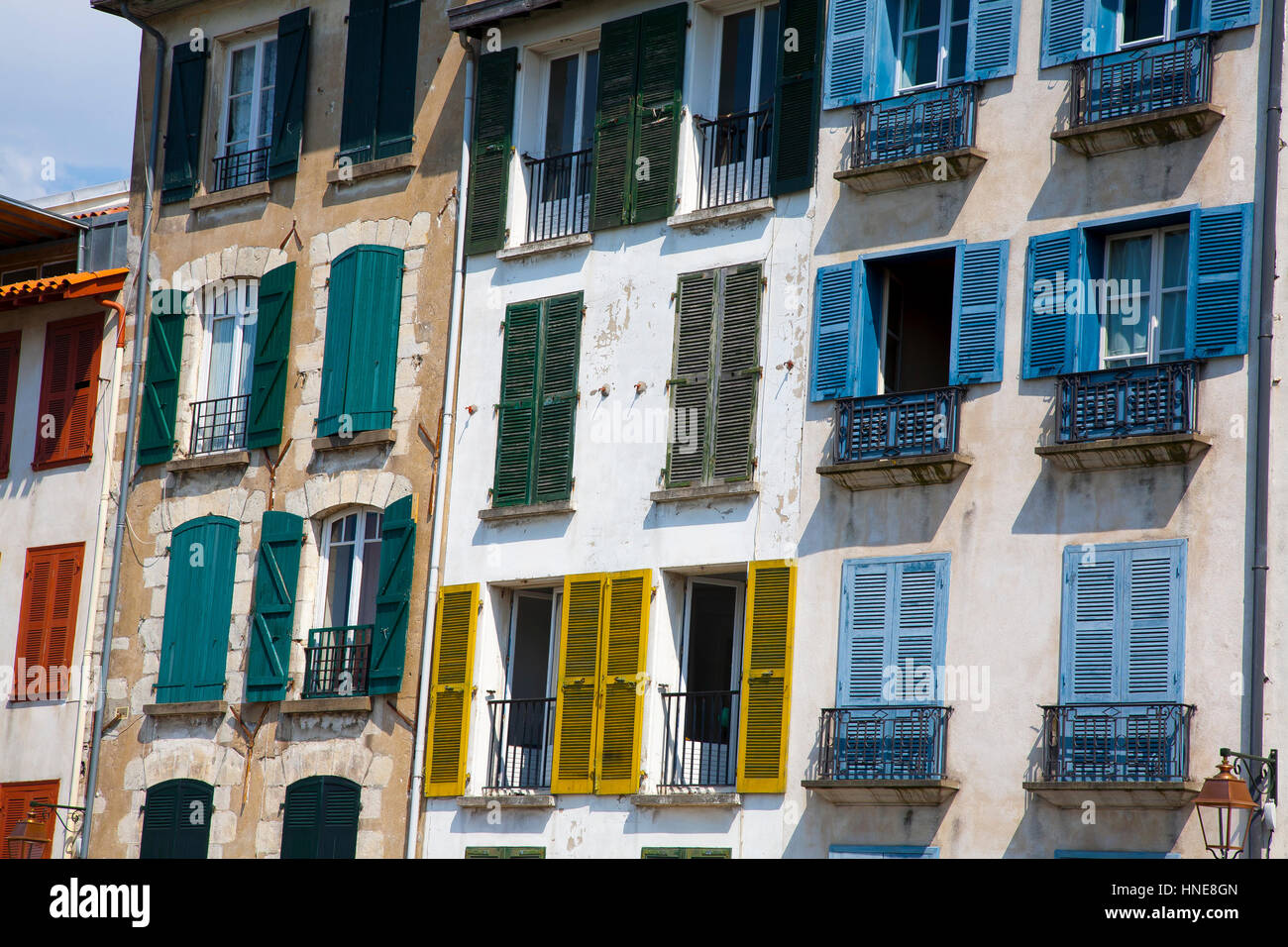 Facades in Petit Bayonne. - Stock Image