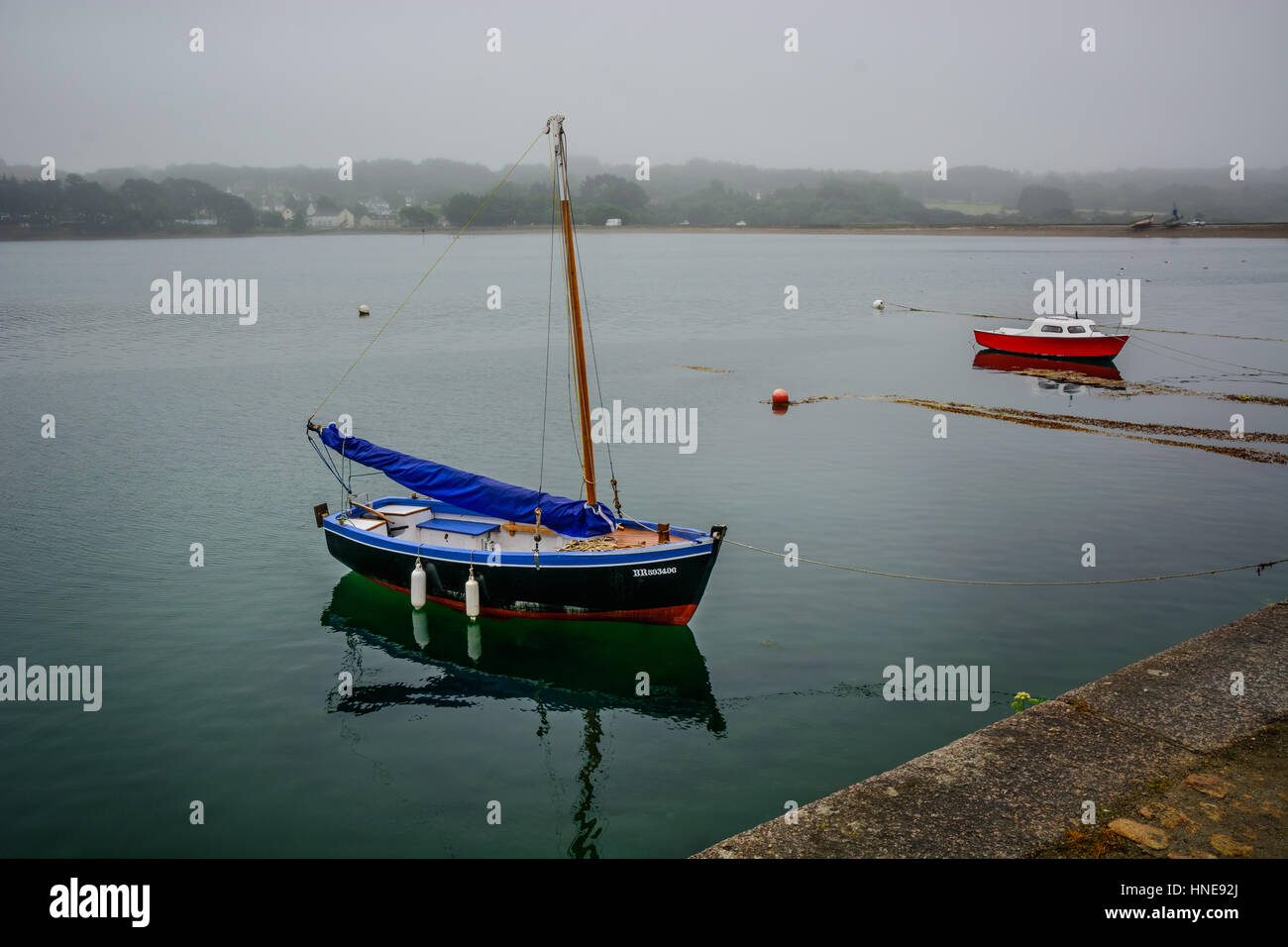 L e Fret, small in Brittany with ferry boat to Brest, Finistere, France Stock Photo