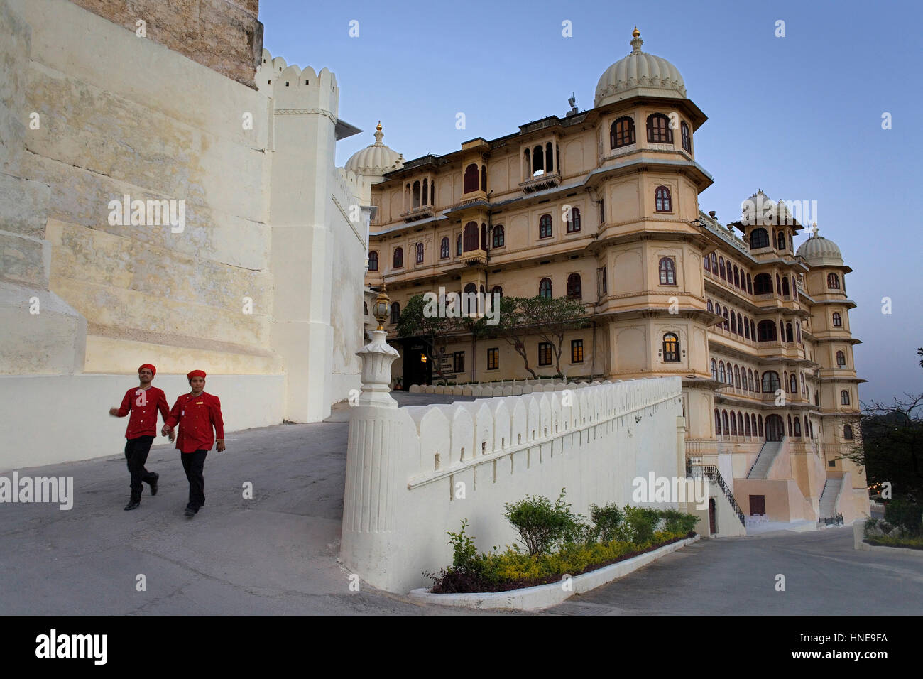 City Palace,bellboys of City Palace hotel,Udaipur, Rajasthan, india - Stock Image