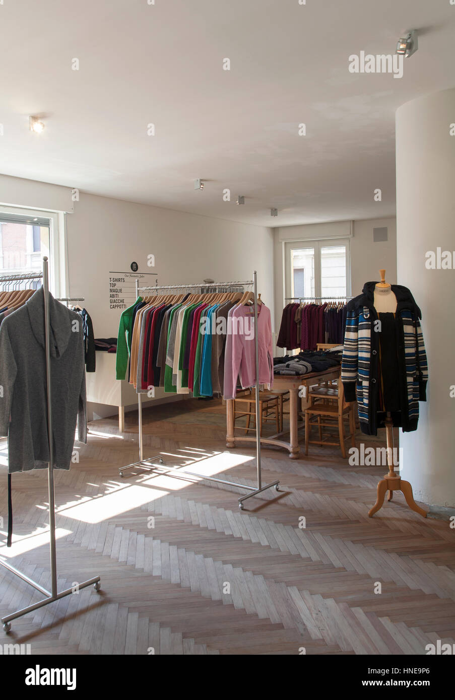 Interior of a small commercial storage room of a clothing store for women