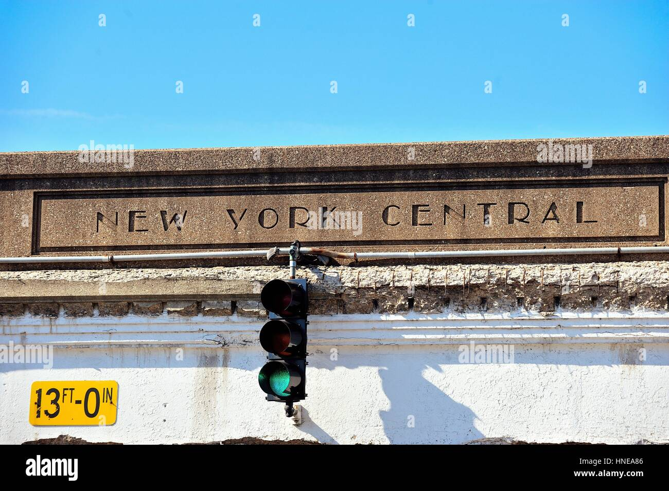 A link to a bygone era carved in concrete on a railroad overpass in Chicago's South Loop neighborhood. Chicago, - Stock Image