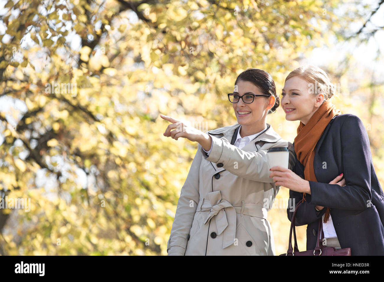Happy businesswoman showing something to colleague at park - Stock Image