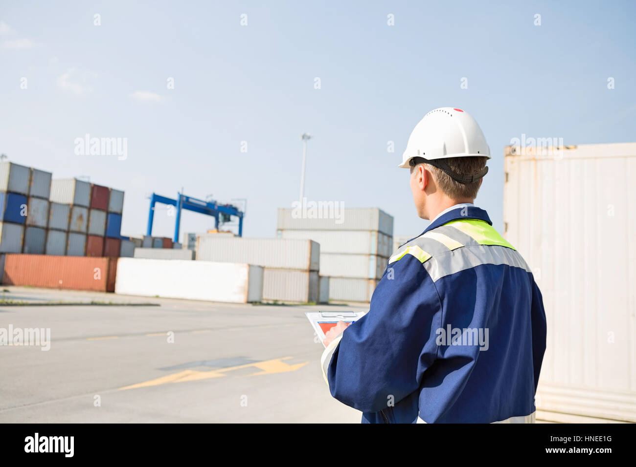 Rear view of middle-aged worker with clipboard in shipping yard - Stock Image