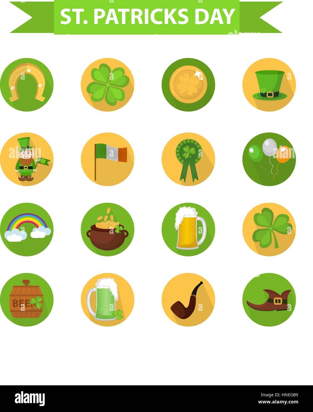 St Patricks Day Icon Set Design Element Traditional Irish Symbols Stock Vector Image Art Alamy