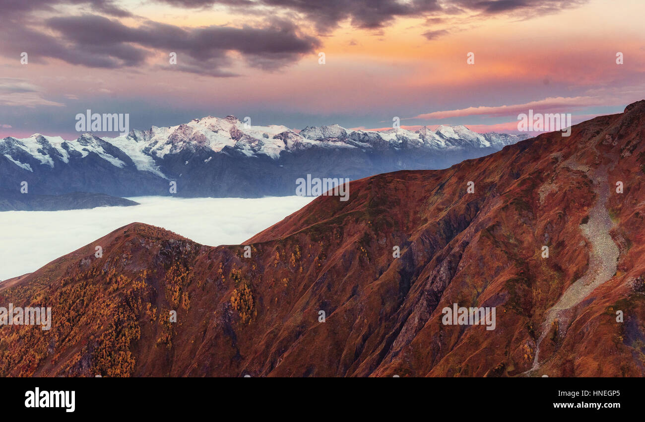 Sunset on mountain lake Koruldi. Upper Svaneti, Georgia, Europe. - Stock Image