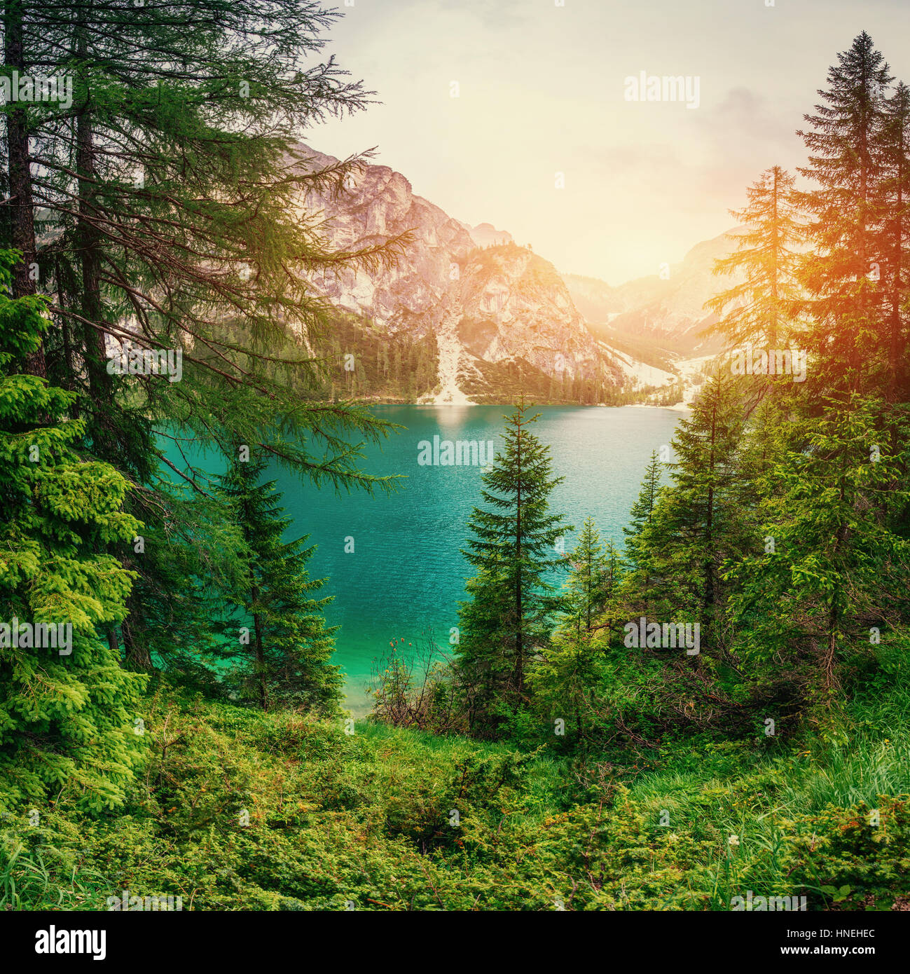 Mountain lake between by mountains  - Stock Image