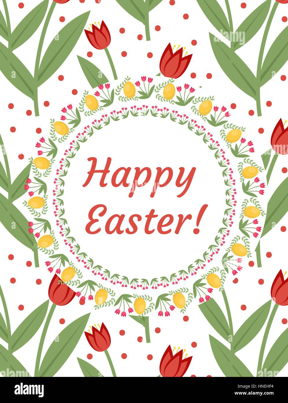Happy easter greeting card flyer poster with red tulips spring happy easter greeting card flyer poster with red tulips spring cute template for your design vector illustration m4hsunfo