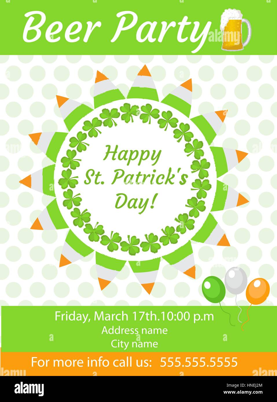 Happy St. Patrick s Day invitation, poster, flyer. Beer Party Stock ...