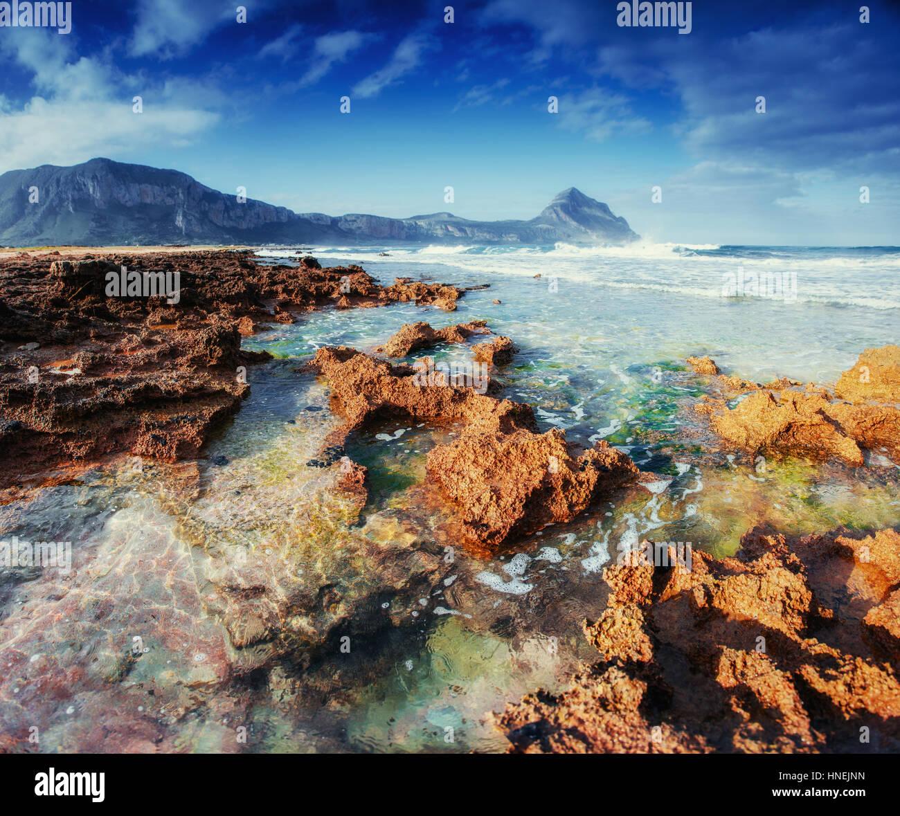 Picturesque rocky coast. Fantastic view of the nature reserve De - Stock Image