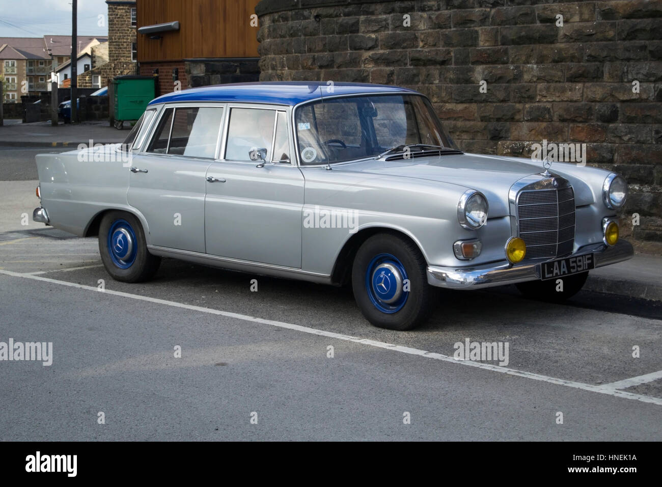 1967 Silver And Blue Mercedes Benz Series 123 Saloon Car   Stock Image