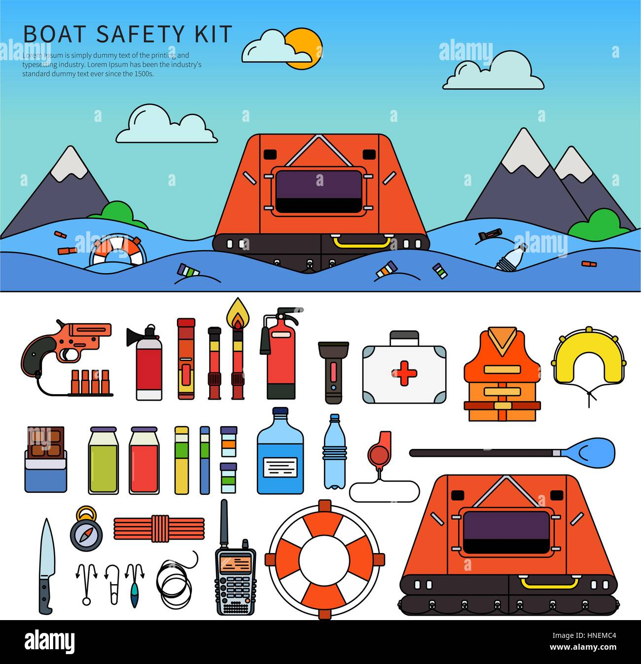 Boat safety kit. Different equipment for safety in the sea. Floating concept. Boat, life jacket, life buoy, fire - Stock Vector