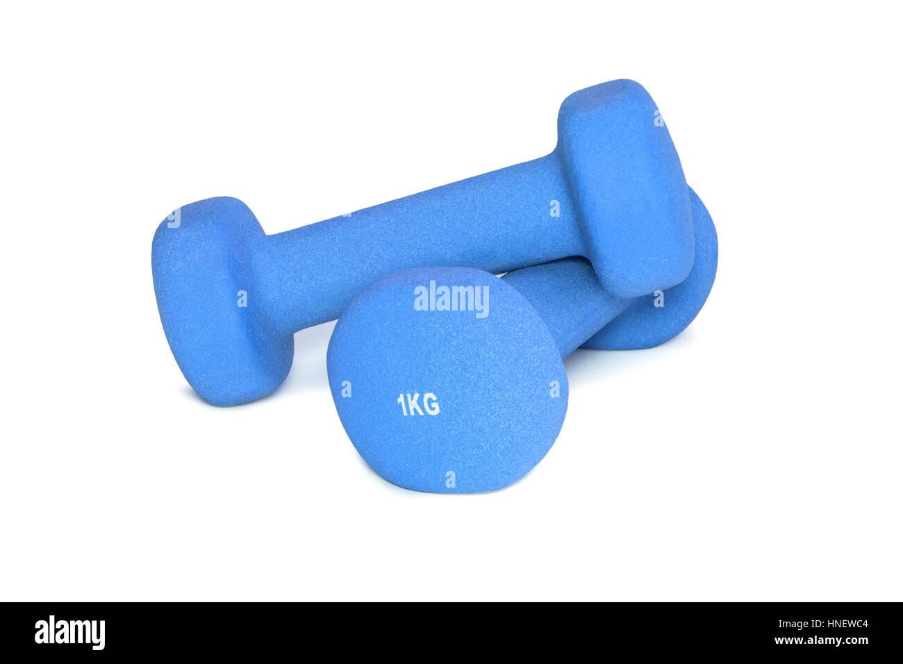 Blue dumbbells isolated on white background. Sports Equipment - Stock Image